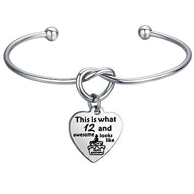 Amazon FEELMEM Birthday Gifts For Her Bracelets 12th Sweet 16 18th 21st Love Knot With Heart Charm Bangle Bracelet
