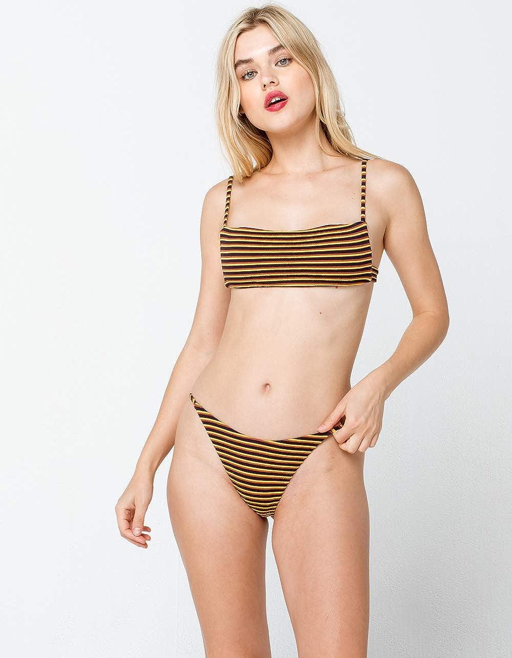 Amazon Com Rvca Women Bondi Stripe French Bikini Bottoms Blue Medium Clothing