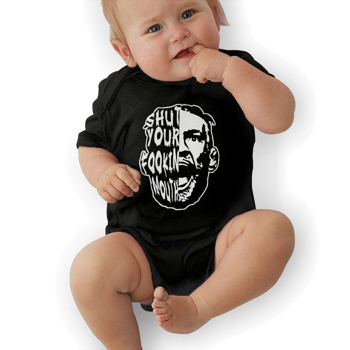 SHWPAKFA Infant Shut Your Mouth Adorable Soft Music Band Jersey Baby Suit,Black,2T