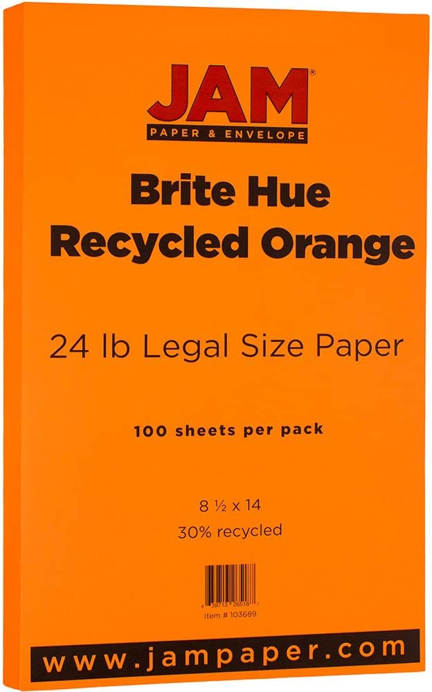 279.4 x 431.8 mm Tabloid Orange Recycled JAM PAPER Ledger Colored 24lb Paper 11 x 17 100 Sheets//Pack