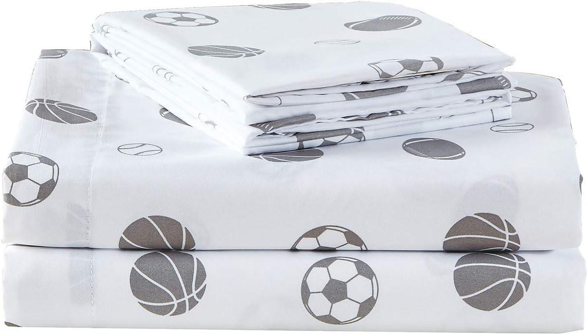 Chezmoi Collection 4-Piece Kids/Teens Sports Sheet Set - Soft Microfiber White Gray Baseball Basketball Football Soccer, Full Size