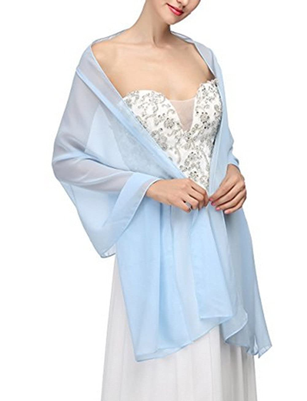 AngelaLove Chiffon Bridal Wedding Shawl Wrap Prom Evening Dress Stole Scarves