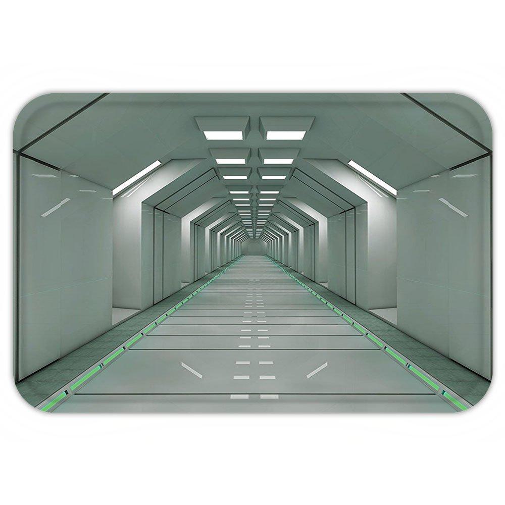 VROSELV Custom Door MatApartment Decor Scifi Corridor Inside Space Station Ship Laboratory Technology Fiction Picture Artwork Decor Grey