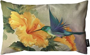 EKOBLA Throw Pillow Cover Humming Bird Oil Painting Floral Bird Animal Spring Leaves Bright Nature Rectangular Throw Pillow Covers for Couch Sofa Home Decor Cotton Linen 12x20 Inch