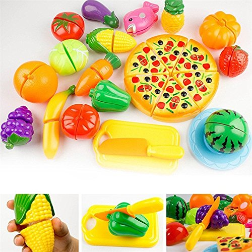IVYRISE Toddlers Toys 24 Pieces Pretend Play Fruit Toys Cutting Plastic Fruit Vegetable Pizza Toys, Early Education Hand-eye Training Cutting Toys for Baby Kids Children by IVYRISE