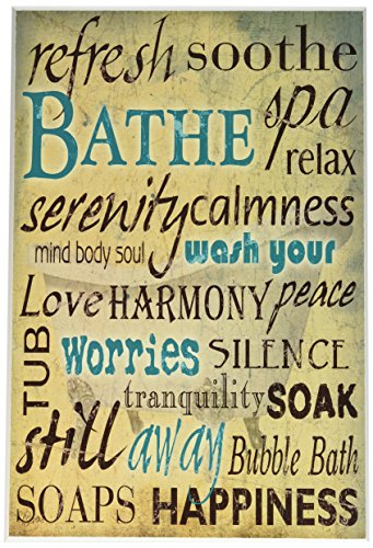 Stupell Home Décor Bathe Wash Your Worries Typography Bathroom Wall Plaque, 10 x 0.5 x 15, Proudly Made in USA by The Stupell Home Decor Collection (Image #1)