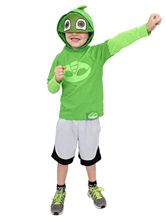 PJ Masks Little Boys Gekko Costume Hooded Tee with Mask (7, Green Long Sleeve