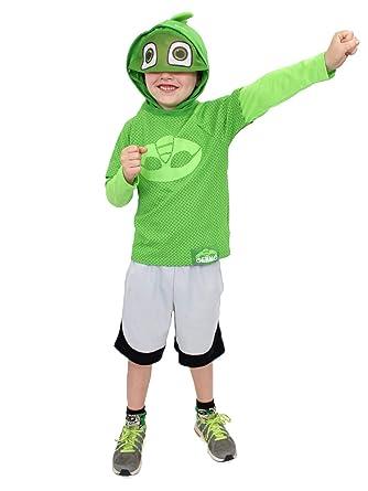 PJ Masks Little Boys Gekko Costume Hooded Tee with Mask (7, Green Long Sleeve
