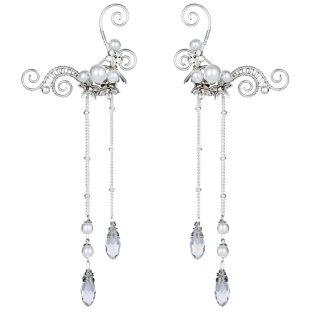 Aifeer Elf Elven Ear Cuffs, Non-Pierced Filigree Wrap Earrings Ear Cuffs for Women Bridal Wedding Handcraft Flowers Jewelry Threader Tassel Chain (White) by Aifeer