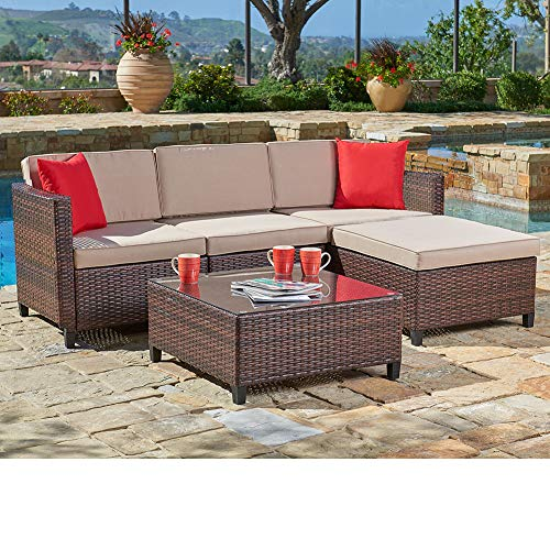 SUNCROWN Outdoor Sectional Sofa (5-Piece Set) All-Weather Brown Checkered Wicker Furniture with Brown Seat Cushions & Modern Glass Coffee Table | Patio, Backyard, Pool