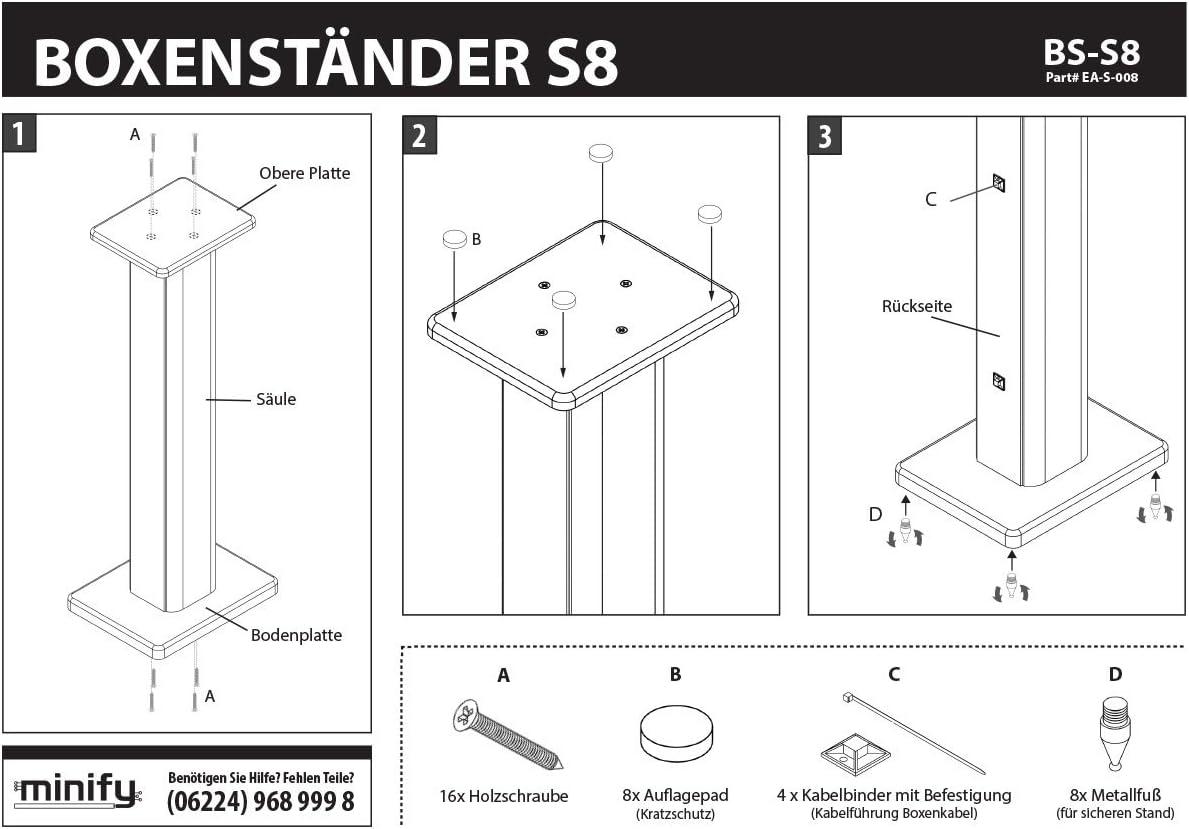 /Ideale per scatole con legno parete Minify BS-S8/ /1/Coppia MDF Box supporto in 2/temi e alti a scelta/