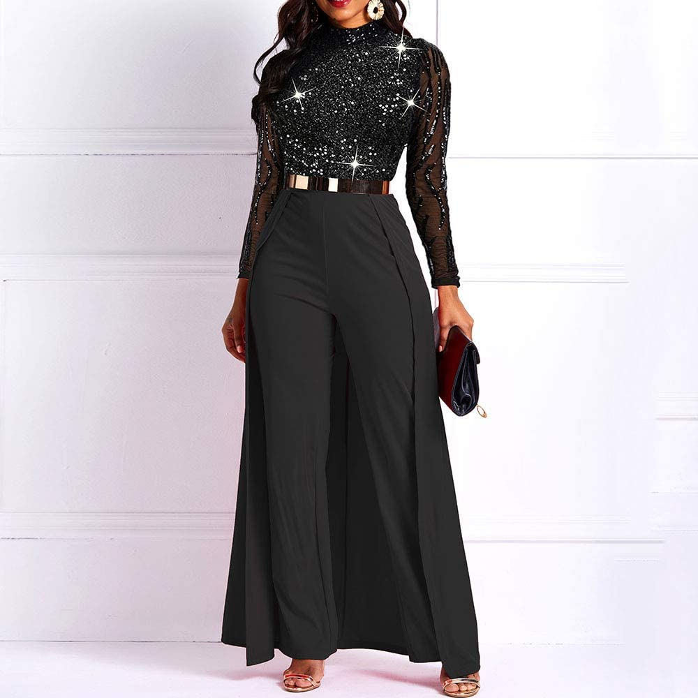 VERWIN Patchwork Overlay Embellished Plain Womens Jumpsuit High-Waist Woman Romper