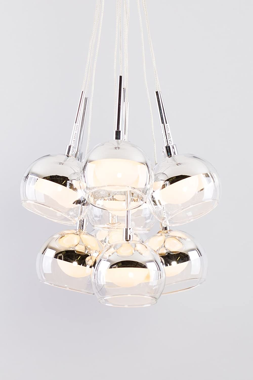 Glass Dome Contemporary Design With Chrome Effect Eleven Light Pendant Clear Wire Ceiling Ideal For Living Room Kids Dining
