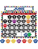 Teacher Created Resources Calendar Bulletin Board Display, Colorful Paw Prints (4328)