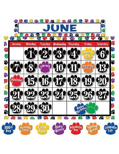Teacher Created Resources Calendar Bulletin Board Display, Colorful Paw Prints - Colorful Calendar