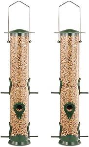 GARDEN&PET Tube Bird Feeder with 6 Feeding Ports, Premium Hard Plastic Outdoor Birdfeeder with Steel Hanger(Pack of 2)