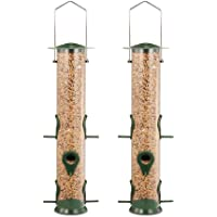 GARDEN&PET Tube Bird Feeder with 6 Feeding Ports, Premium Hard Plastic Outdoor Birdfeeder with Steel Hanger(Pack of 2).