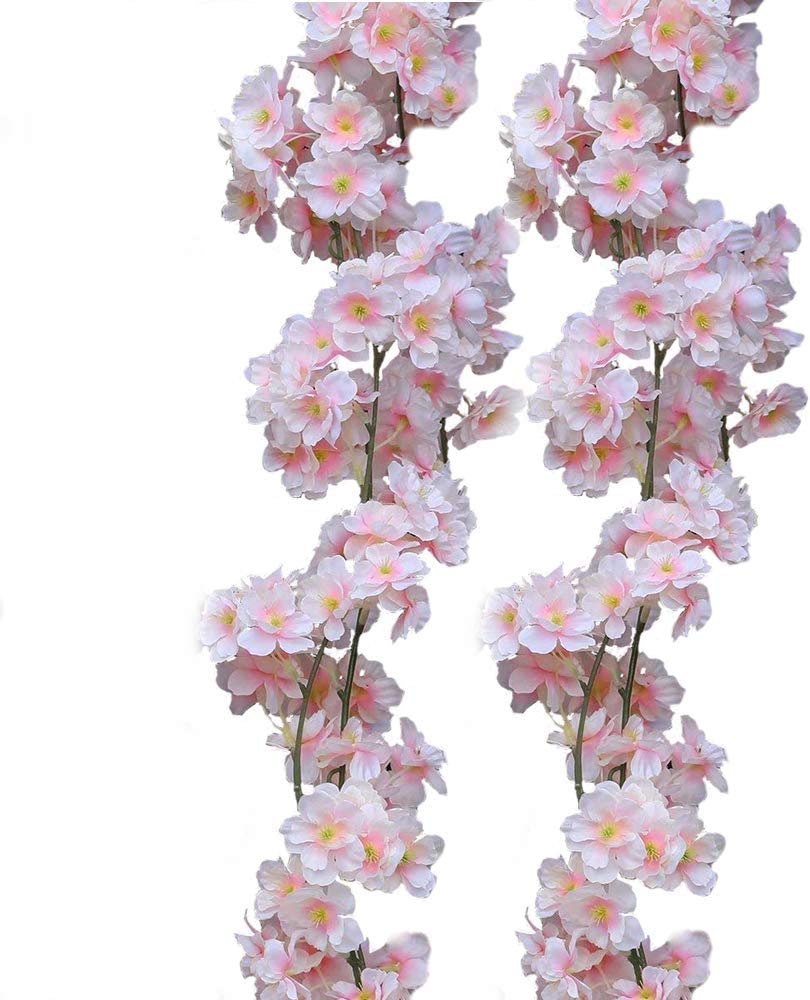 Packozy Artificial Cherry Blossom Hanging Vine Silk Flowers Wedding Decor Home and Outdoor Decor (Pink, Pack of 2)
