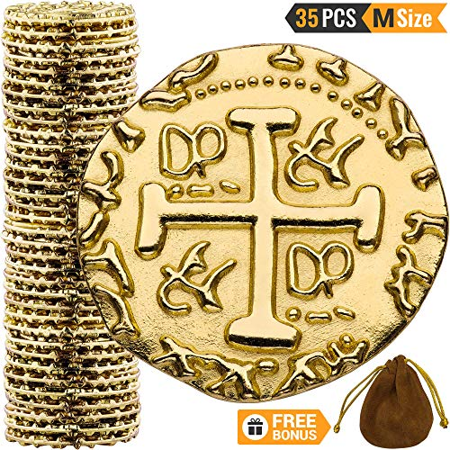Metal Pirate Coins - 35 Gold Treasure Coin Set, Metal Replica Spanish Doubloons for Board Games, Tokens, Toys, Cosplay - Realistic Money Imitation, Pirate Treasure Chest - Medium Size 7/8 inch