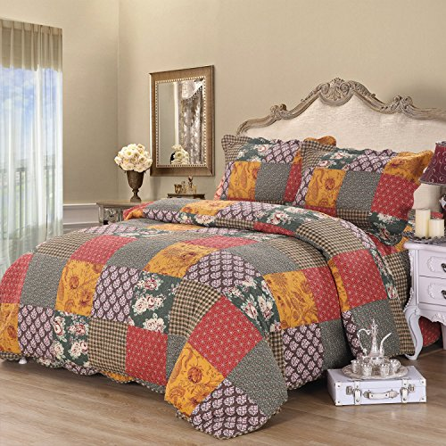 Alicemall Shabby Chic Bedding Set European Style Blocks Design Country Flower Print Antique Quilts Set, Colorful 3 Pieces Cotton Bedspreads Set, King Size (Antique Chic Quilt Set)