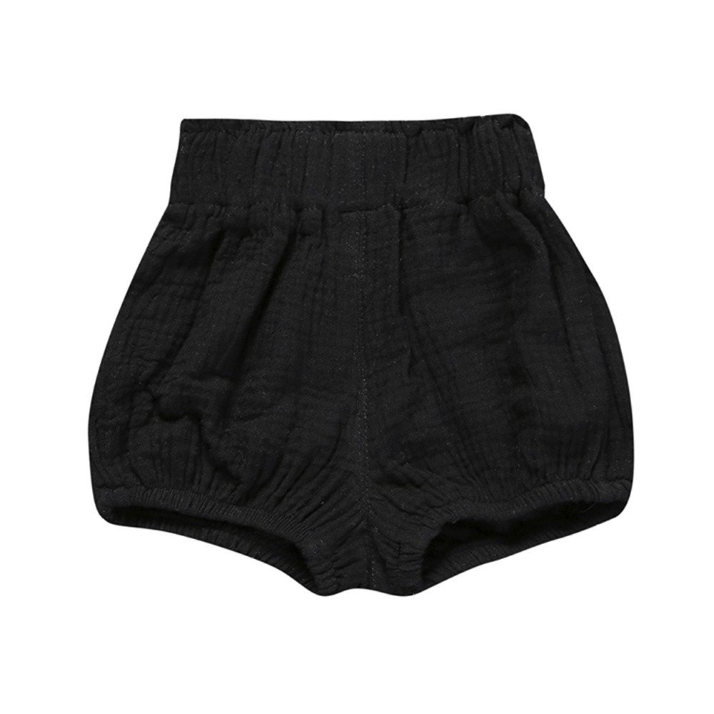 Birdfly Toddler Baby Basic Bloomers Diaper Cover Infant Boys Girls Bottom Shorts Cotton Clothes (24M, Black)