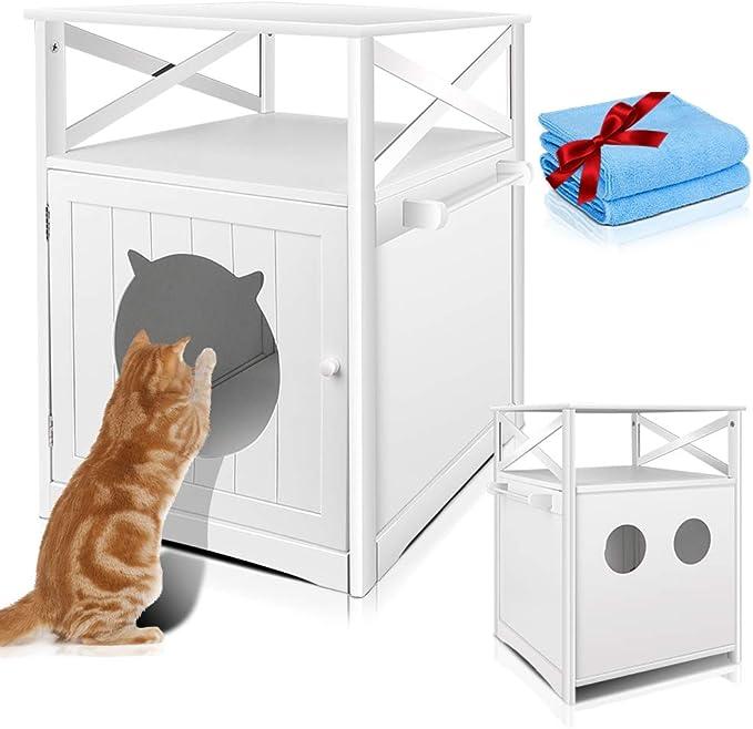Masthome Mueble de Baño para el Arenero de Gatos,Cubierta para Caja de Arena de Madera para Gatos,Banco de Almacenamiento para Lavabo de Gato,52 x ...