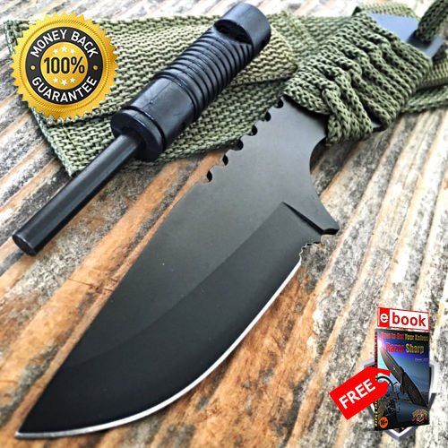 7'' FIRE STARTER WHISTLE FIXED BLADE COMBAT SURVIVAL