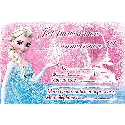 10 CARTES INVITATION ANNIVERSAIRE LA REINE DES NEIGES FROZEN in French (avec des enveloppes blanches)