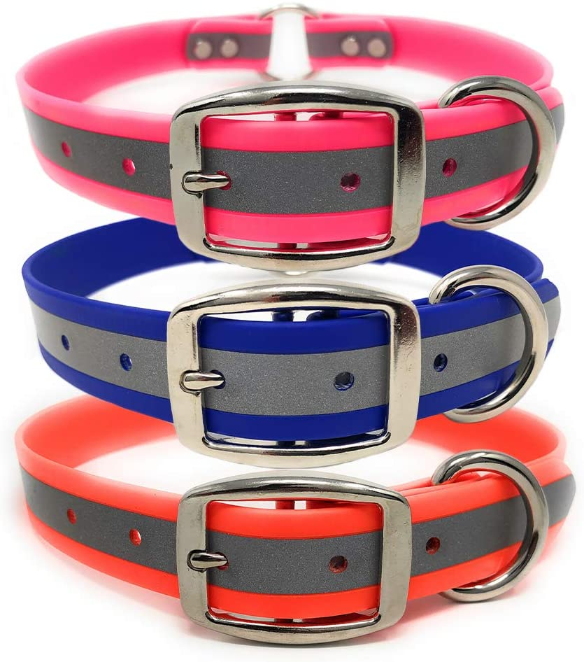 Heavy Duty Reflective Dog Collar – Adjustable Dog Collar with Durable Metal Buckle and Center Ring, Anti-Odor, chew Resistant, Waterproof Dog Collar for Small, Medium and Large Dogs