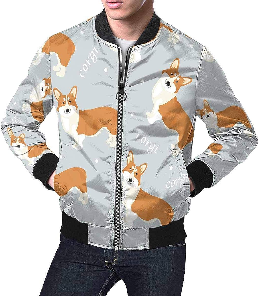 INTERESTPRINT Mens Pattern with Corgi Jacket Windbreaker