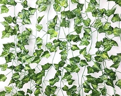 Excellous 12 Pack - 84-Ft Silk Artificial Ivy Vines Leaf Garland Plants Hanging Wedding Garland Fake Foliage Flowers Home Kitchen Garden Office Wedding Plastic Wall Decor Jungle Party