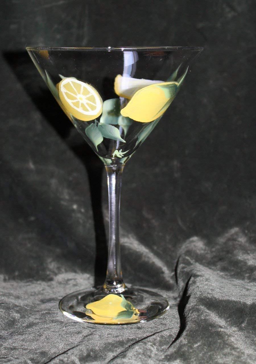Hand Painted Martini Glasses - Lemons Drops (Set of 2) by Silk Elegance