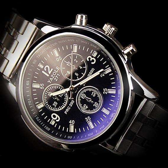 YAZOLE - Reloj de pulsera para hombre, acero inoxidable, analógico de cuarzo