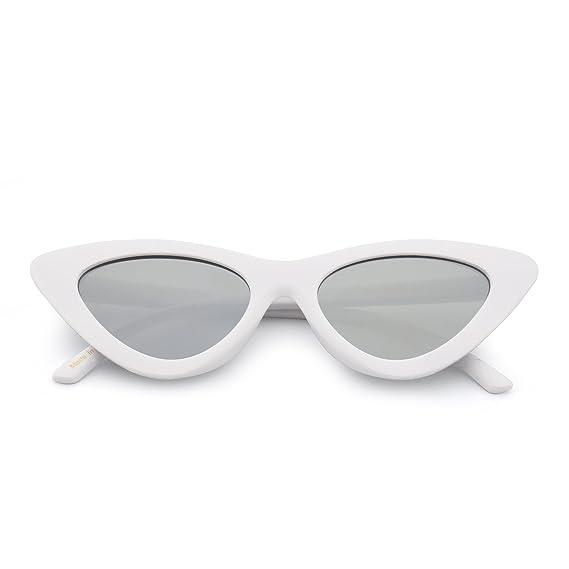 Jm Fashion Lunettes de Soleil Femme Œil de Chat Clout Goggles Lentille Teintée Plastique (Blanc/Argenté) 0b5lp4