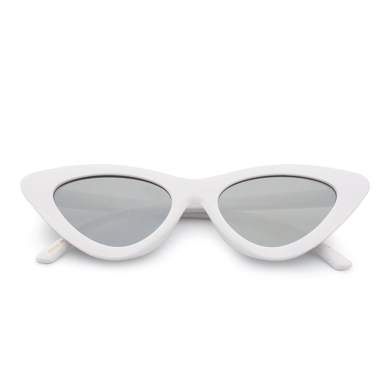 Moda Fashion Occhiali da Sole Donna Clout Goggles Occhio di Gatto Lenti Colorate Plastica (Bianco/Giallo) w1NrCfs5G