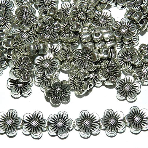 (Pendant Jewelry Making Antiqued Silver 8mm 5-Petal Scalloped Flower Metal Spacer Beads 100pc)