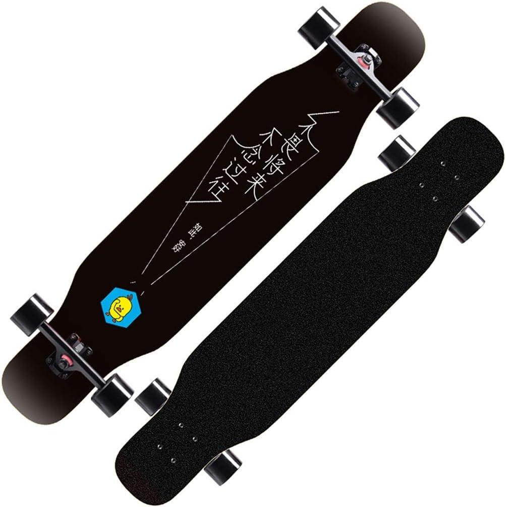DUWEN スケートボード初心者メイプルロングボードアダルトプロフェッショナルブラシストリートダンスボードティーン四輪スクーター(フラッシュホイール付き) (色 : D) D