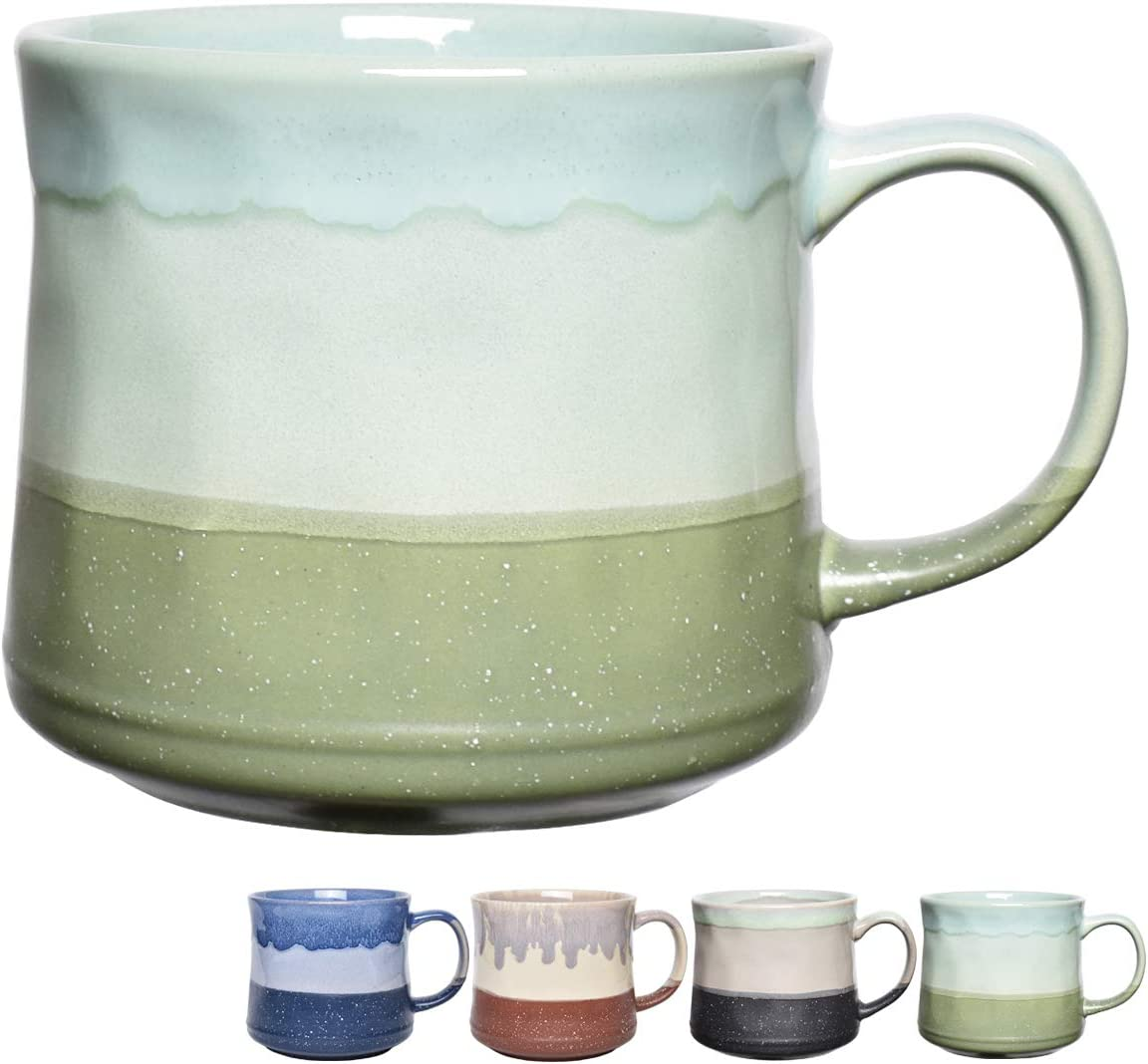 Bosmarlin Large Ceramic Coffee Mug, Big Tea Cup for Office and Home, 21 Oz, Dishwasher and Microwave Safe, 1 PCS (Green)
