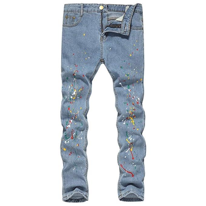 Pantalones De Mezclilla Estampados De Algodón, Lavado ...