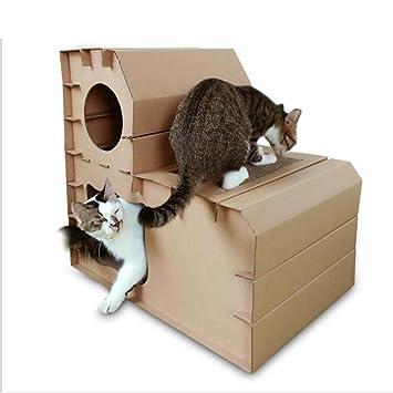 Gato Escalada Marco DIY Doble Capa Combinación Step Cat House Corrugado Papel Gato Paja Juguete Mascota Gato Suministros Gato Scratch Board: Amazon.es: ...