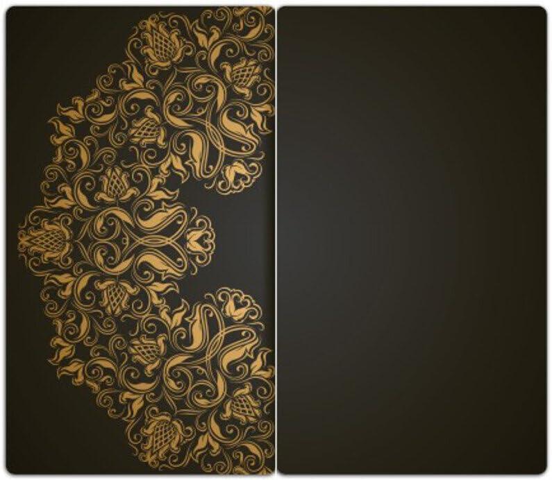 Noppen aus Glas Goldenes Ornament Herd Ceranfeld Abdeckung DEKOGLAS Herdabdeckplatten Set inkl 2-teilig universal 2x 52x30 cm