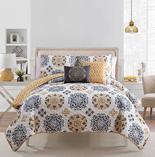 Best Price! 5 Pc Yellow, Grey and White, Quilt Set, Full/queen Size Bedding, By Karalai Bedding Coll...
