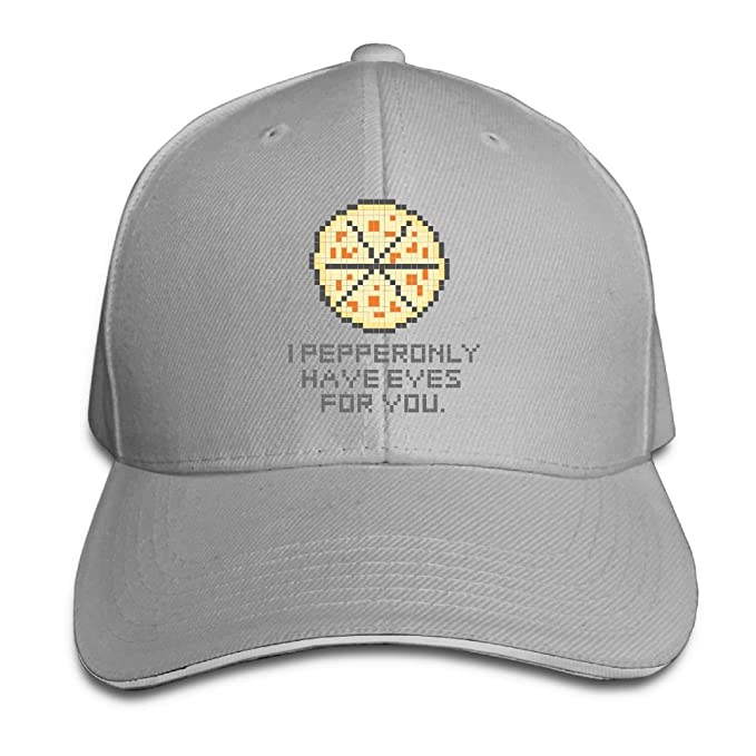 WRTAS I Pepperonly Have Eyes For You Pizza Baseball Hat Fitted Brim Unisex  Cap e6edad2ca43