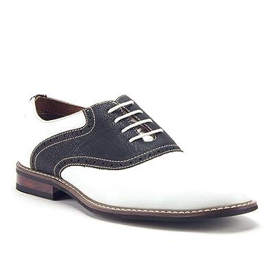 c0c8bcb1267a4 Ferro Aldo Men's 19268A Two Tone Saddle Oxfords Dress Shoes