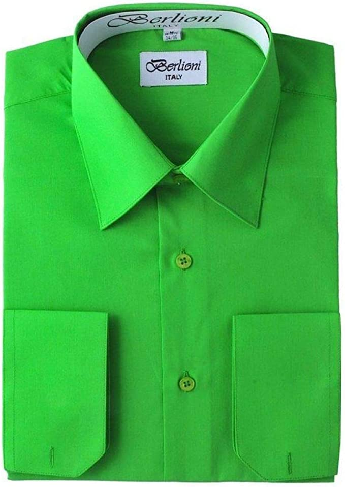 Berlioni Italy Men/'s Convertible Cuff Solid Italian French Dress Shirt Khaki