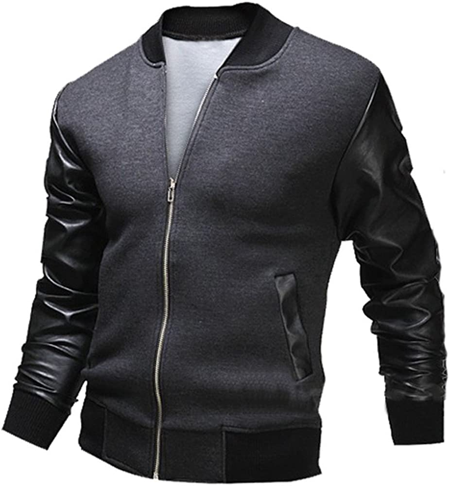 Fashion Mens Bomber Jacket,Casual Leather Patchwork Slim Fit Winter Warm Coat Outwear