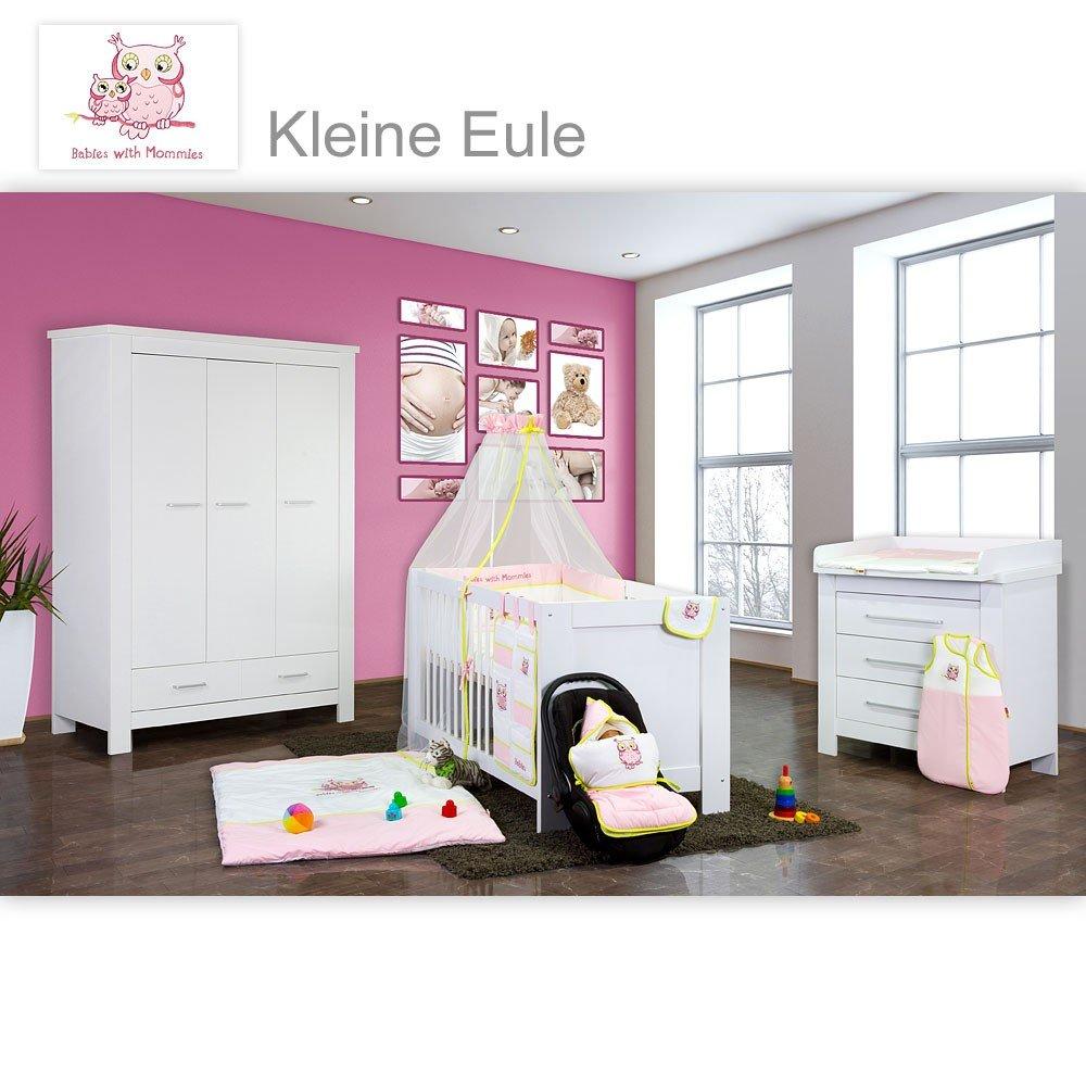 Babyzimmer Enni in weiss 9 tlg. mit 3 türigem Kl. + Textilien von Kleine Eule, Rosa