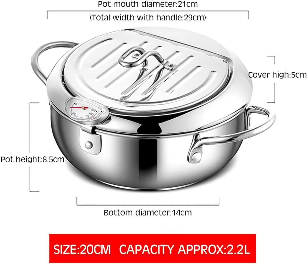 20CM 201 Stainless Steel Gerald Madge-20//24cm Deep Fryers,Temperature-Controlled Japanese Stainless Steel Frying Pan with Thermometer,Suitable for Induction Cooker