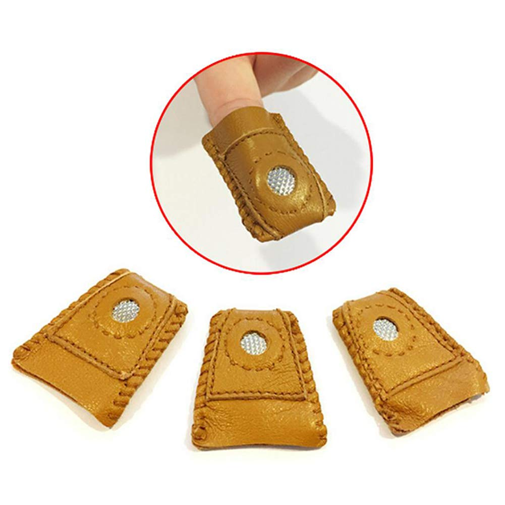 Yimeezuyu Sewing Thimble Finger Protector 3 Pack Leather Coin Thimble Finger Protector Pin Needles Sewing Quilting Craft Accessories M