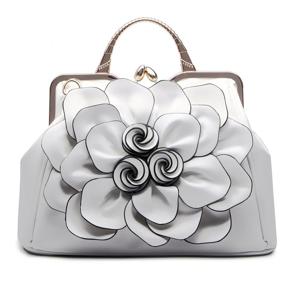 SUNROLAN Women's Evening Clutches Handbags Formal Party Wallets Wedding Purses Wristlets Ethnic Totes Satchel (White)